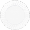 Silver Rimmed White Scalloped Cake Plates