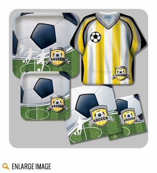 Host A celebration with Soccer Party Supplies featuring soccer balls, a striped jersey and a field worthy of the World Cup!