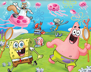 The SpongeBob Classic party supplies feature the lovable sea sponge SpongeBob Squarepants and his pals Patrick Star, Sheldon Plankton, Sandy Cheeks, Squidward Tentacles, and Gary on colorful underwater backgrounds.