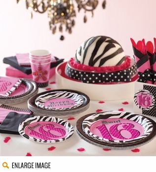 Sweet sixteen decorations including tableware, favors, and party supplies.