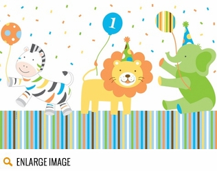 The Sweet At 1 pattern features baby zoo animals including elephants, lions, giraffes, and zebras.