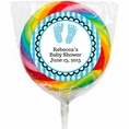 Sweet Feet Blue Baby Shower Custom Lollipops