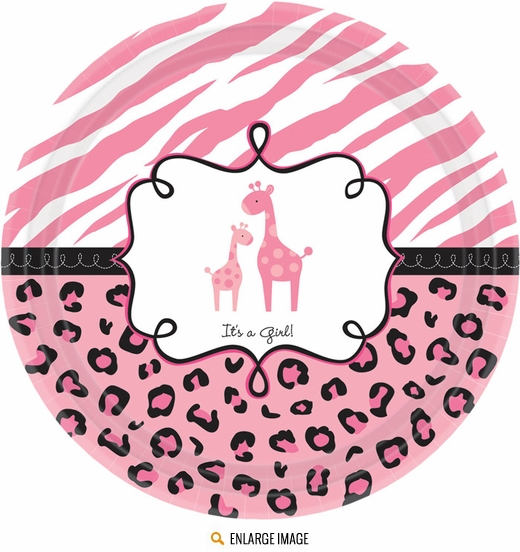 Pink, white and black Sweet Safari Girl Baby Shower 10.5-in Dinner Plates include 18 per package