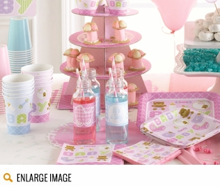 Teddy Baby Pink shower decorations featuring shades of lavender and pink. This shower theme also features iconic baby images such as baby bottles, rattles, pacifiers, bibs, baby carriages, and a teddy bear too!