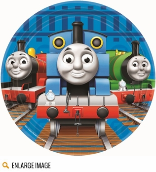 Thomas the Tank Engine Party Supplies featuring colors of red, blue and green along with everyones favorite trains Thomas, Percy and James posed on railroad tracks awaiting their next adventure.
