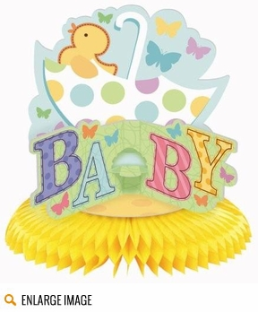 The Tiny Bundle party supplies feature a baby duckie and umbrella in its design.