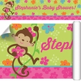 Tropical Monkey Baby Shower Custom Banner