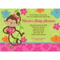 Tropical Monkey Baby Shower Custom Invitation