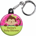 Tropical Monkey Baby Shower Custom Keychain