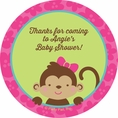 Tropical Monkey Baby Shower Custom Stickers