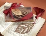 �Turning Leaves� Bookmark with Burgundy Silk Tassel