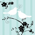 Two Love Birds Beverage Napkin