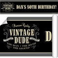 Vintage Dude Custom Birthday Banner