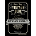 Vintage Dude Custom Birthday Invitation