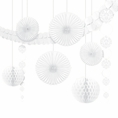 White Damask Hanging Decorations Kit