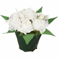 White Mini Fabric Roses Centerpiece