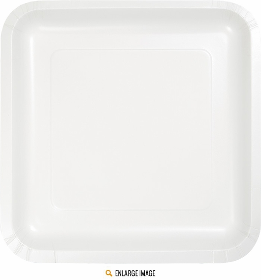 "Touch of Color White 7"" Square Dessert Plates in quanities of  18 per package"
