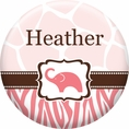 Wild Safari Pink Baby Shower Custom Button
