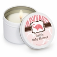 Wild Safari Pink Baby Shower Custom Candles