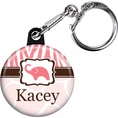 Wild Safari Pink Baby Shower Custom Keychain