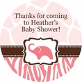 Wild Safari Pink Baby Shower Custom Stickers