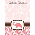 Wild Safari Pink Baby Shower Custom Thank You Note