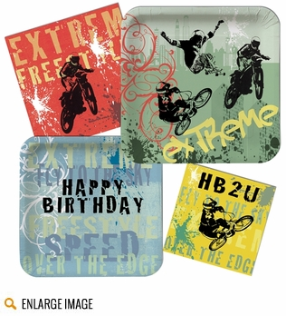 Red, blue, green, black and yellow Xtreme Action Birthday Party Supplies featuring extreme sports BMX, skateboard, and motorcross riders.