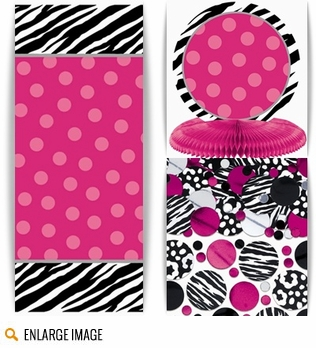 Black, white, and bright pink zebra striped tableware for your girl-oriented baby shower.