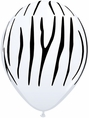 Zebra Stripe Black & White Latex Balloons 8 ct.