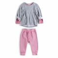 Appaman Infant Girl Combo Sweat Set in Heather Mist
