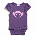Appaman Short Sleeve Monkey Onesie in Purple Pebble - size 0-6M left!