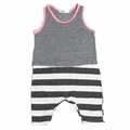 Joah Love Milo Striped Baby Romper in Pink