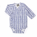 Kate Quinn Organics Unisex-baby Long Sleeve Kimono Bodysuit in Monaco Blue Birch