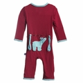 Kickee Pants Applique Coverall in Brick Polar Bear - size 0-3M left!