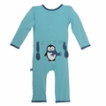 Kickee Pants Applique Coverall in Glacier Penguin - last one size 0-3M!