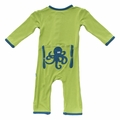 Kickee Pants Applique Coverall in Meadow Octopus