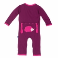 Kickee Pants Applique Coverall in Melody Hedgehog - sizes 0-3M & 18-24M left!