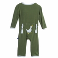 Kickee Pants Applique Coverall in Moss Duck