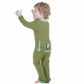 Kickee Pants Applique Coverall in Moss Sled Friends - size 0-3M left!