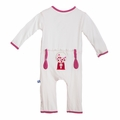 Kickee Pants Applique Coverall in Natural Gumball Machine - size 0-3M left!