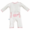 Kickee Pants Applique Coverall in Natural Pig