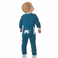 Kickee Pants Applique Coverall in Peacock Elephant - size 3T left!