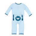 Kickee Pants Applique Coverall in Pond Sunshine Lion - size 3T left!
