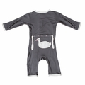 Kickee Pants Applique Coverall in Stone Goose
