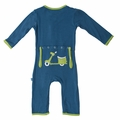 Kickee Pants Applique Coverall in Twilight Moped - size 0-3M left!