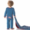 Kickee Pants Applique Coverall in Twilight Space Ship