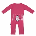 Kickee Pants Applique Coverall in Winter Rose Penguin