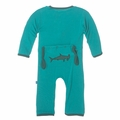 Kickee Pants Baby Boys' Fitted Applique Coverall in Lagoon Hammerhead