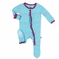 Kickee Pants Baby Girls' Ruffle Footie in Galcier Frosted Birch