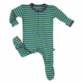 Kickee Pants Bamboo Footie in Boy Farm Stripe - size 18-24M left!